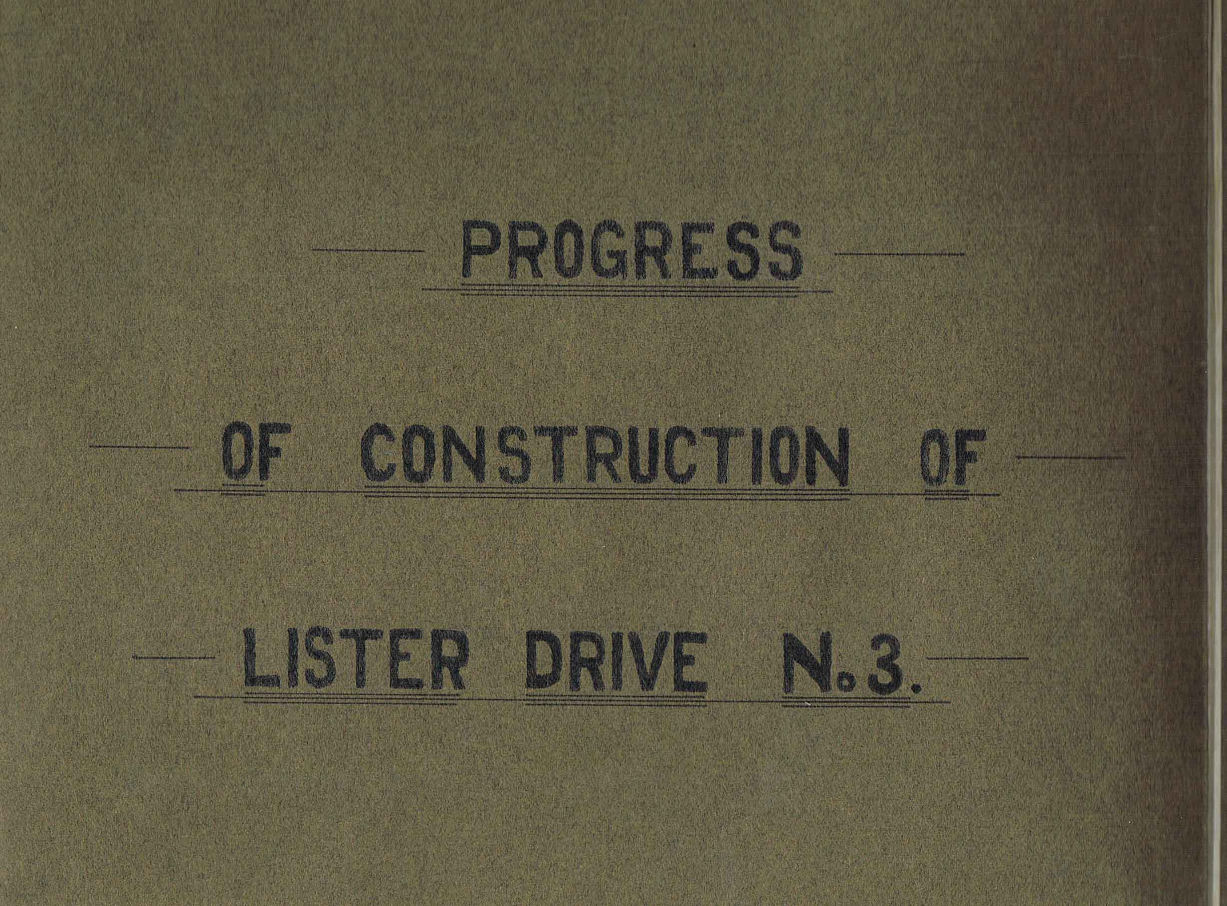 Lister Drive Number Three 1924-25